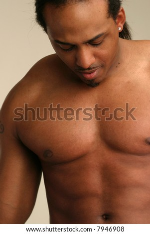 Black male with bare chest