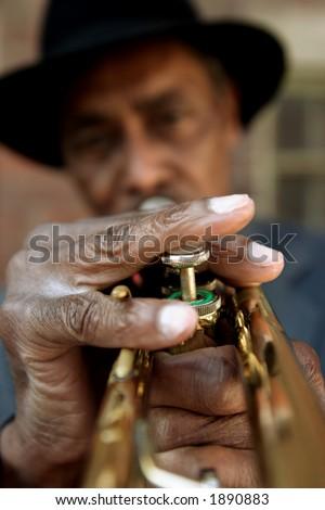 Black Man and Trumpet - stock photo