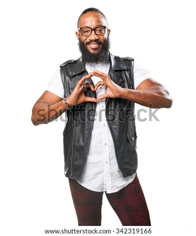 black man doing a heart symbol - stock photo