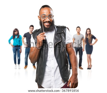 black man having fun with party accessories - stock photo