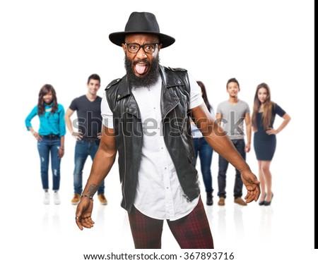 black man joking - stock photo