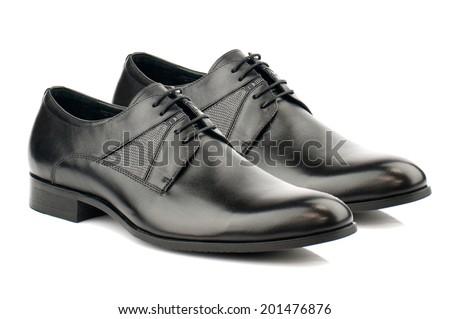 Black man leather shoe with shoelace on white background. - stock photo