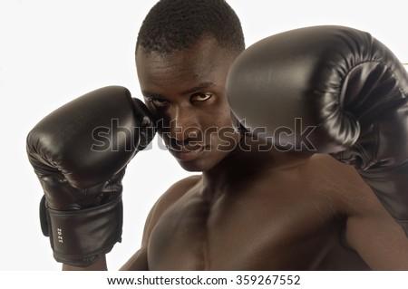 black man naked boxing white background - stock photo