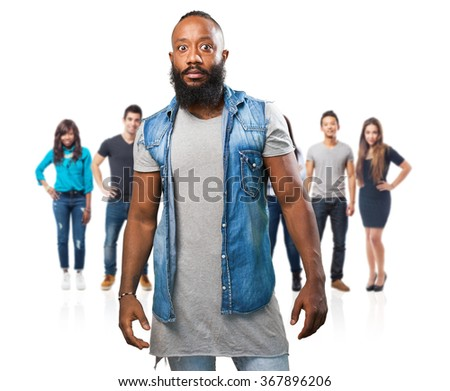 black man opening eyes on white - stock photo