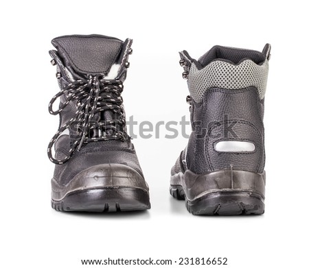 Black man's boots with gray bar. Isolated on a white background.