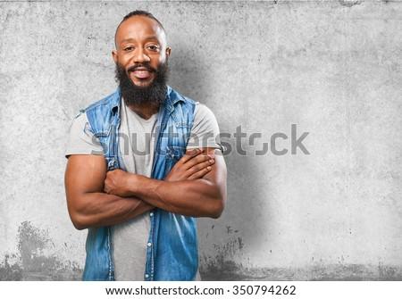 black man smiling on white - stock photo