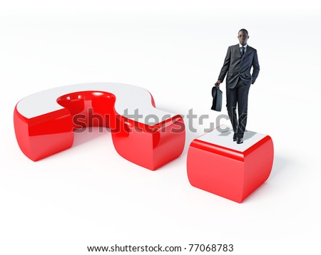 black man with bag on big question mark - stock photo