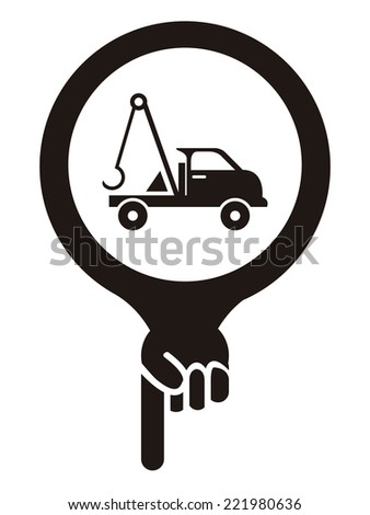Black Map Pointer Icon With Tow Car, Roadside Assistance Service Sign Isolated on White Background  - stock photo