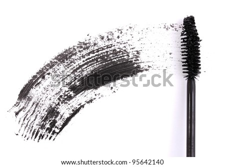 Black mascara brush stroke isolated on white - stock photo