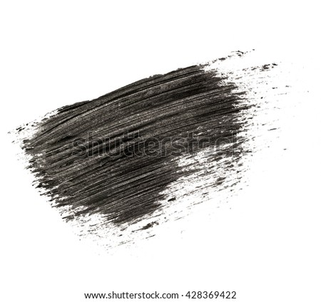 Black mascara brush strokes on background