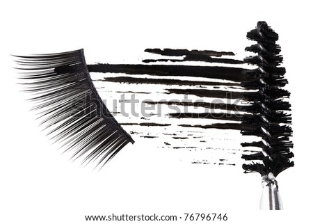 Black mascara stroke, brush and false eyelashes abstract composition, on white - stock photo