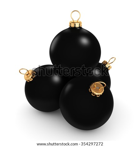Black mat christmas ball on  white background