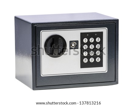 Black matalichesky safe with digital code isolated on white background - stock photo