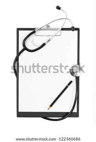 Black medical Clipboard with a Stethoscope isolated on white background - stock photo