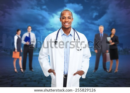 Black medical physician doctor man and group of people. - stock photo