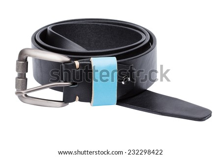 Black men leather belt trimmed with blue isolated on white background - stock photo