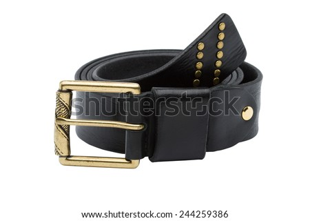 Black men leather belt with golden accessories isolated on white background - stock photo