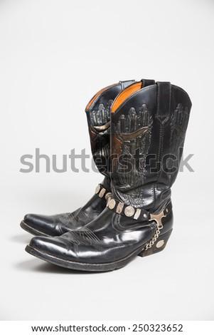 Black men�´s cowboy boots - stock photo