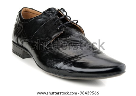 black men's shoes isolated on a white background - stock photo
