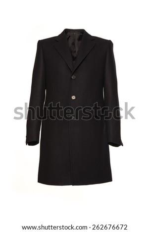 Black men's winter coat on a white background - stock photo