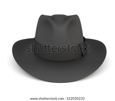 Black mens hat isolated on white background. 3d render image - stock photo