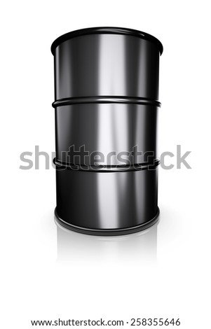 Black metal barrel on a white background. 3d image - stock photo