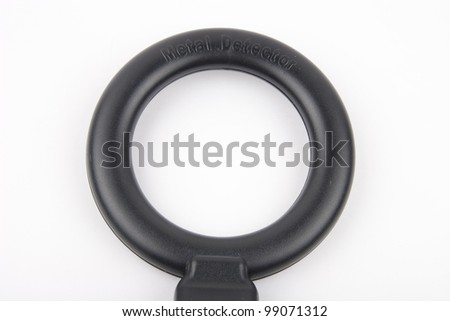Black metal detector isolated on white background