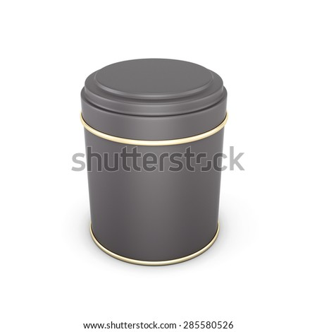 Black metal packaging for tea isolated on white background. 3d illustration.