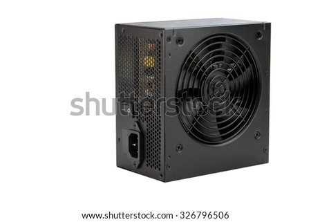 Black metal power source of computer isolated on the white background. All potential trademarks are removed - stock photo