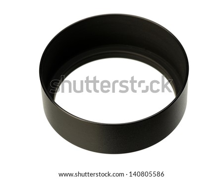 Black metal round lens hood to the camera, isolated