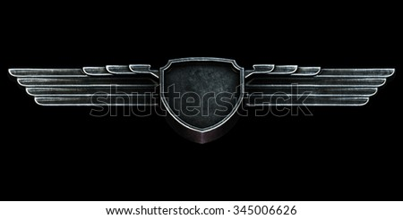 Black metal wings isolated on black background bottom view. 3d render - stock photo