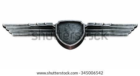 Black metal wings isolated on white background bottom view. 3d render - stock photo
