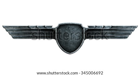 Black metal wings isolated on white background front view. 3d render - stock photo