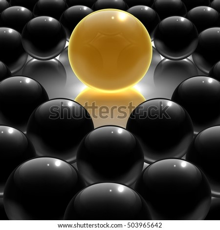 Black metallic and yellow glossy sphere. 3D illustration