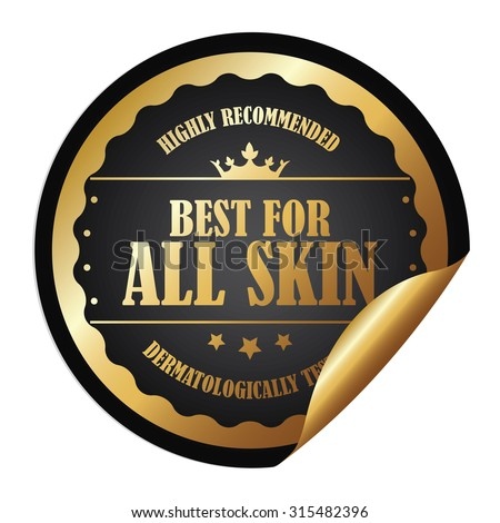 Black Metallic Circle Best for All Skin Highly Recommended Dermatologically Tested Infographics Peeling Sticker, Label, Icon, Sign or Badge Isolated on White Background - stock photo