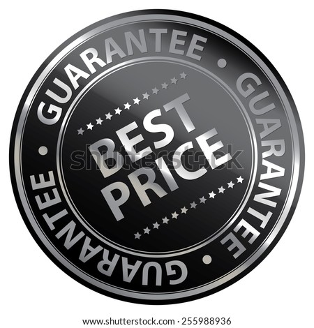 Black Metallic Circle Best Price Guarantee Icon, Label, Banner, Tag or Sticker Isolated on White Background  - stock photo