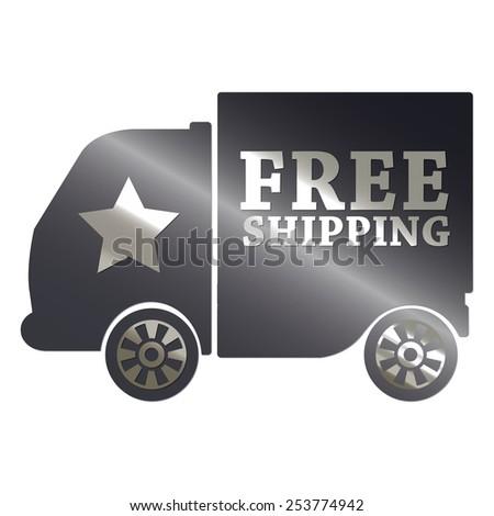 black metallic free shipping sticker, sign, badge, icon, label isolated on white - stock photo