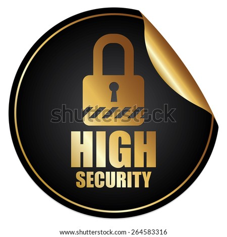 Black Metallic High Security Sticker, Icon or Label Isolated on White Background  - stock photo
