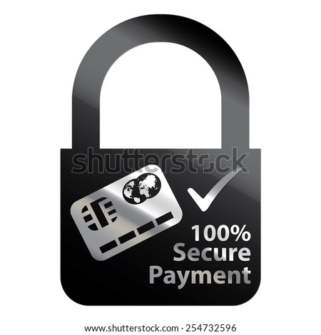Black Metallic Key Lock Shape 100% Secure Payment Icon, Label, Sign or Sticker Isolated on White Background  - stock photo