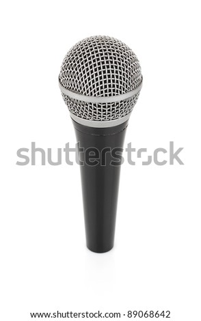 black metallic microphone for voice recording isolated on white background