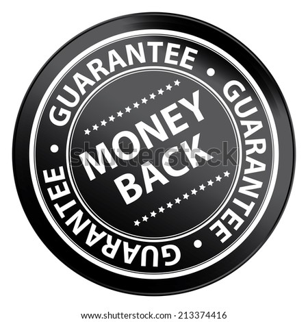 Black Metallic Style Money Back Guarantee Icon, Badge, Label or Sticker for Product Warranty, Quality Assurance, CRM or Customer Satisfaction Concept Isolated on White Background  - stock photo