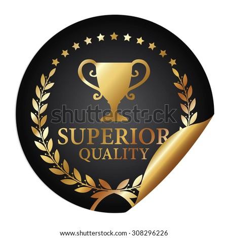 Black Metallic Superior Quality Infographics Peeling Sticker, Icon, Badge, Sign or Label Isolated on White Background  - stock photo
