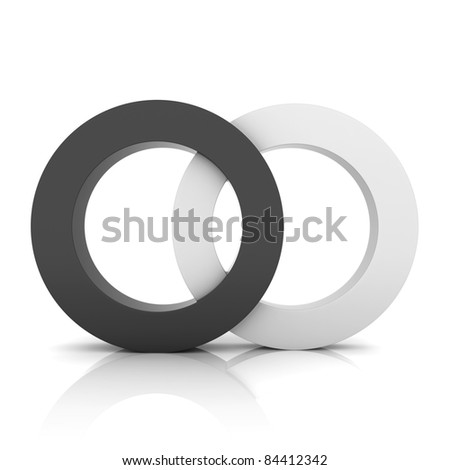 Black metallic symbol with two circles (concept of union) - stock photo