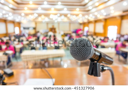 Black microphone in conference room - stock photo