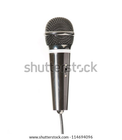 black microphone isolated on a white background - stock photo