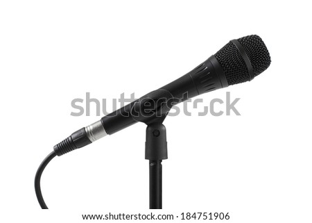 Black microphone isolated on white