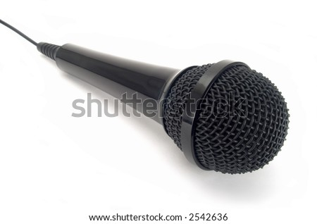 Black microphone isolated on white background.