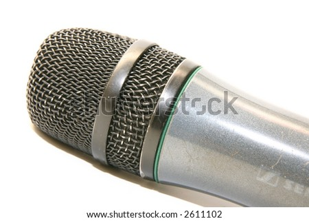 black microphone isolated on white background - stock photo