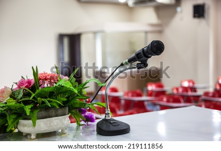 Black microphone on the table Meeting rooms - stock photo
