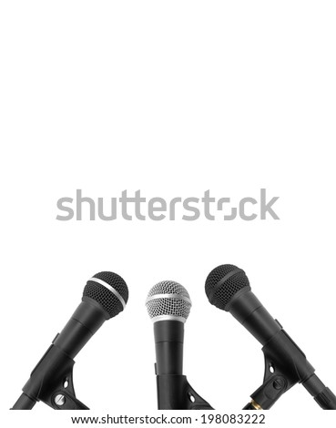 black microphones isolated on a white background